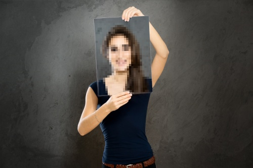 Portrait of Woman With a Pixelated Face