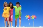 Kids on beach with bright colors