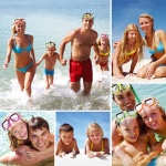 Collage of beach photos - family swimming and sunbathing.