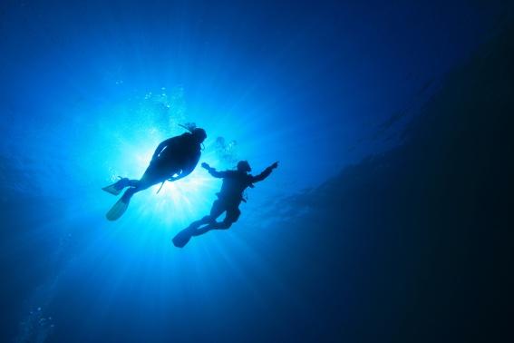 Scuba divers underwater beach scene