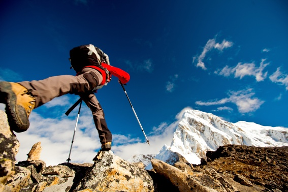 Man hiking the Himalayas