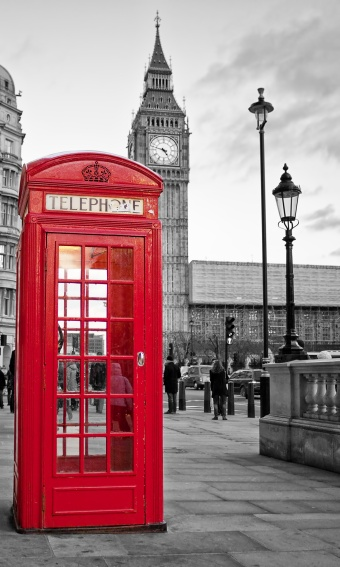 Selective coloring red phone booth Big Ben London England