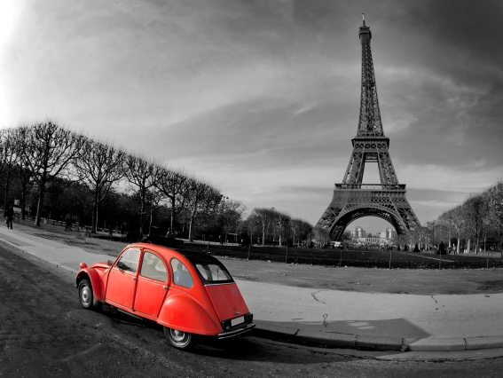 Eiffel Tower Paris red car selective coloring