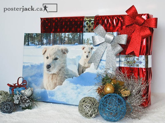 Posterjack Canvas Print of dogs in snow, wrapped Christmas gifts, holiday decorations
