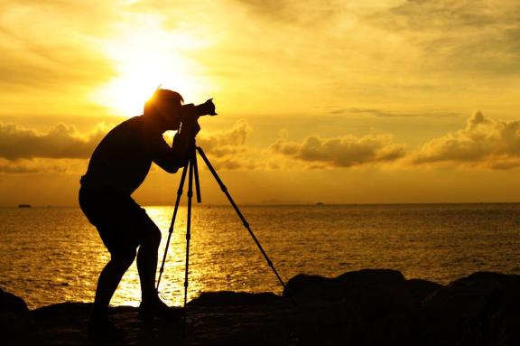 Silhouette Photographer Tripod Sunset Sunrise
