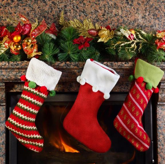 Three Christmas Stocking Fireplace