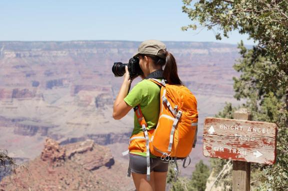 Woman Photographer Camera Backpack Landscape