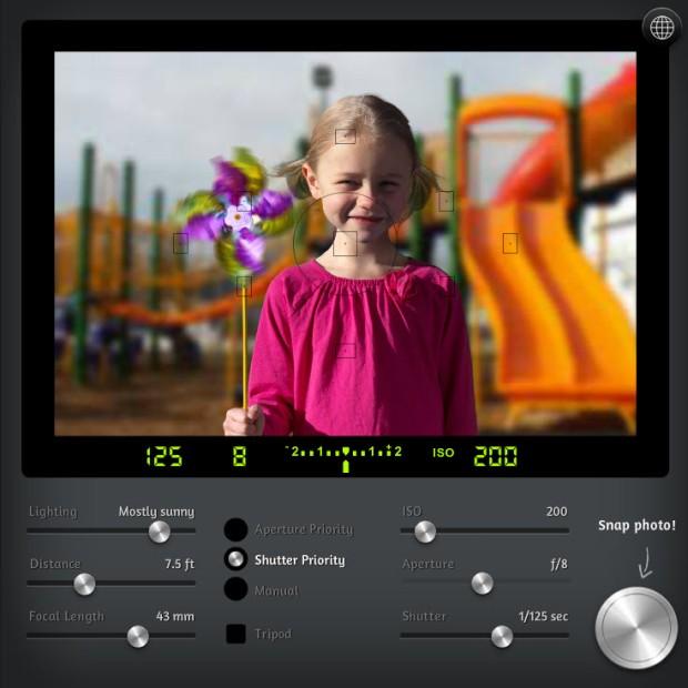 Camera simulator online exposure controls
