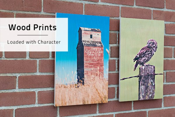Posterjack Wood Prints on display, hanging from a brick wall