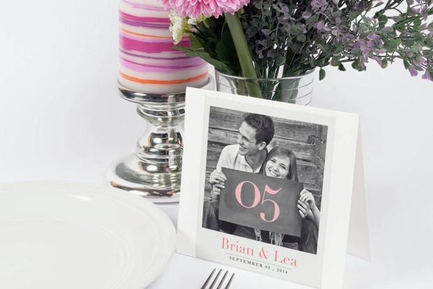 Photo Table Number Card at a Wedding