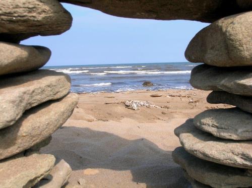 Beach Ocean Scene Framed Rocks