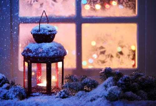 Candle Lantern Outside in Snow