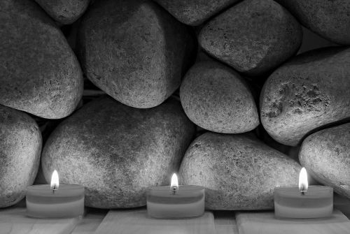 Three Burning Tealight Candles in Black and White