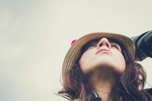 Portrait Photography Woman in Hat Looking Up