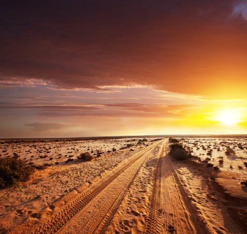 Desert Road Sunset Landscape With Tire Tracks