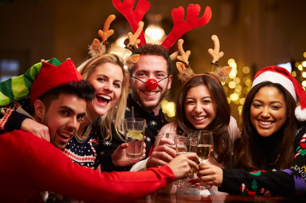 Group of Friends at Christmas Party