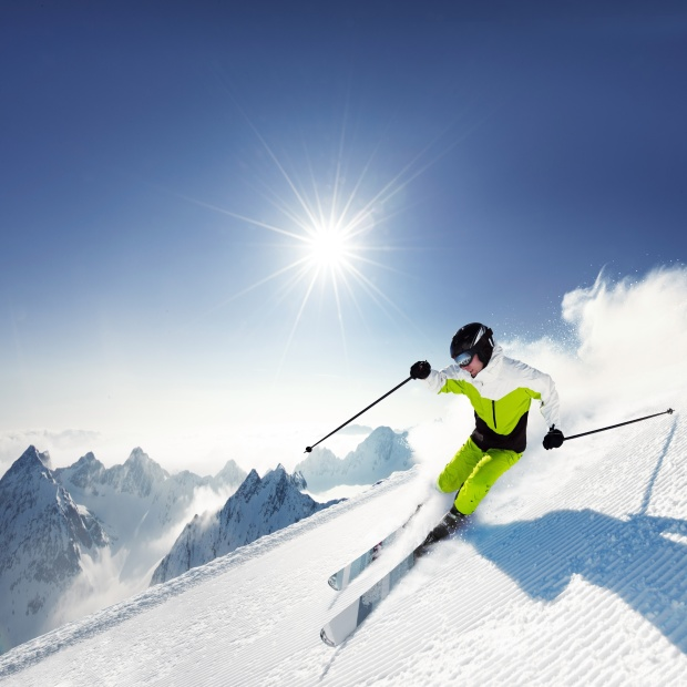 Snow Skier on a Sunny Day