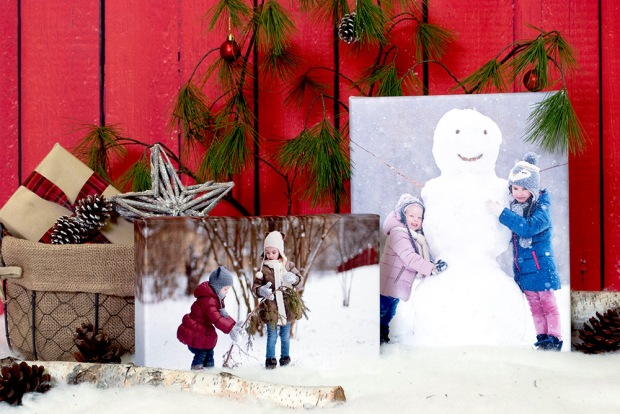 Posterjack Canvas Prints of Children Playing in the Snow and Building a Snowman