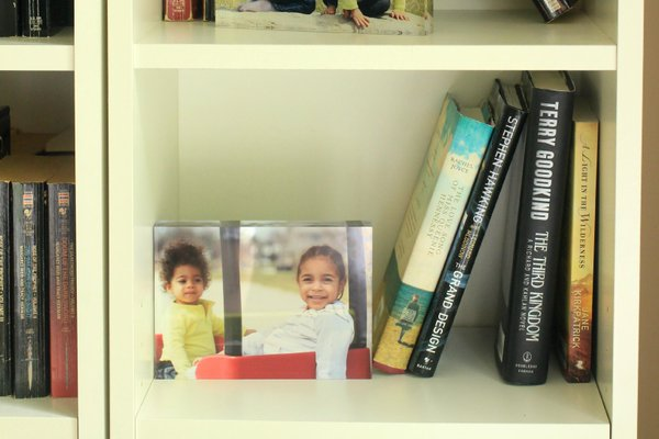 Home Decor Photo Displayed on Bookshelf