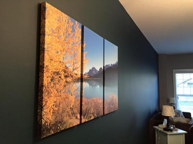 Beautiful Autumn Trees and Lake Printed on Canvas