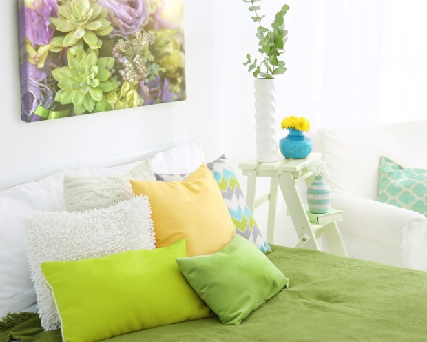Bedroom Decor Pairing Greenery with Colour Palettes