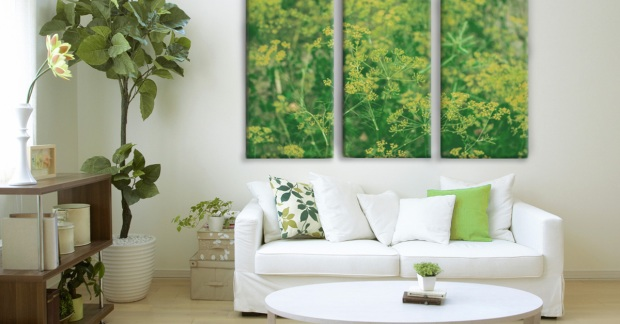 Livingroom Decorated with Shades of Green and Posterjack Three-Panel Canvas Prints