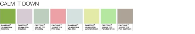 Pantone Calm It Down Colour Palette to Pair with Greenery