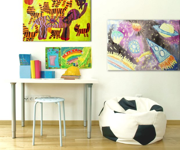 Child's artwork printed on Posterjack Canvas Prints in a kid's playroom or bedroom.