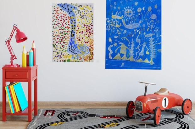 Kid's artwork displayed in the playroom