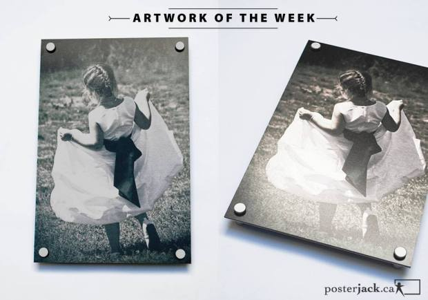 Sweet wedding photo of flower girl printed on a Posterjack Metal Print