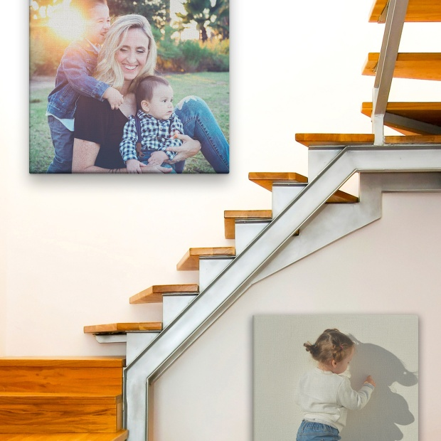 Posterjack Canvas Prints used as Staircase Wall Art
